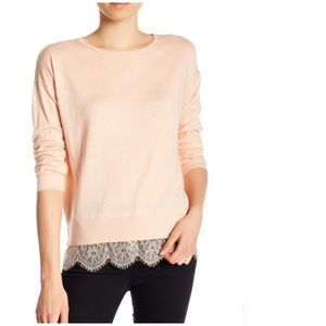 Joie Hilano Lace Hem Sweater Crewneck Peach